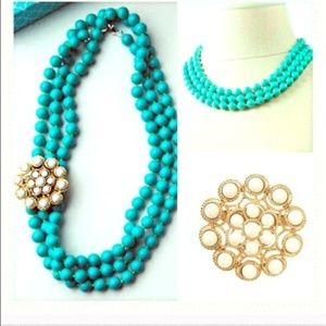 Stella & Dot Turquoise Beaded Necklace and Broach
